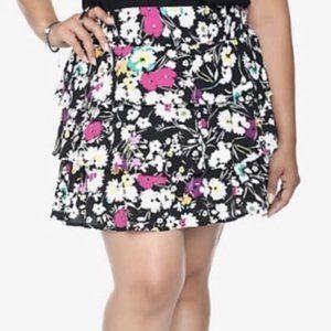 Torrid Black Pink Floral Layered Ruffle Mini Skirt